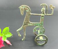Vintage - Bronze Greek Chariot of Athena with Owl Sculpture Replica