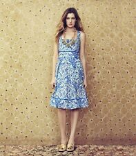 Tory Burch Dress 10 Ramona Floral Blue NWT Silk Blend celeb Runway $450 L