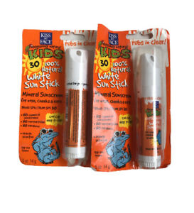 2-Kiss My Face Kids Natural White Sun Stick. Rubs In Clear New .5 Oz Ea.