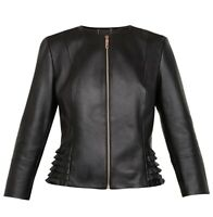 Ted Baker TAILA Frill Detail Leather Jacket Size 2 New