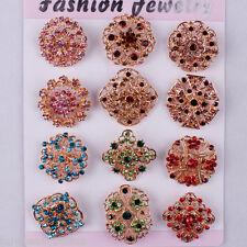 12pc/lot Colorful Rhinestone Crystal Brooch Pin DIY Wedding Bouquet 3cm-3.5cm