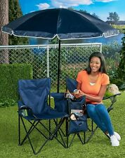 Double Chairs With Umbrella Folding Table Cooler Portable for Beach, Picnic