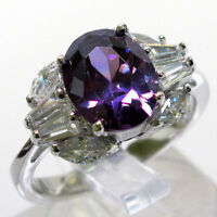 ADORABLE 3 CT AMETHYST OVAL CUT 925 STERLING SILVER RING SIZE 5-10