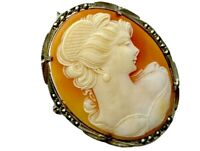 ANTIQUE / VINTAGE SILVER CARVED SHELL CAMEO BROOCH DUAL PENDANT Gift Boxed