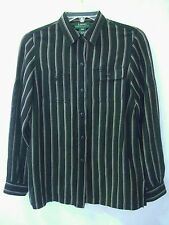 RALPH LAUREN Black & Beige-Brown Striped Silk-Linen Roll-Slv Shirt sz PS Pet.S