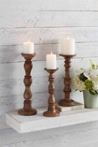 Mud Pie E1 Gracious Living Mango Wood Beaded Wood Candlestick - Choose Size