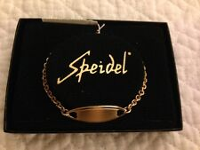 "Speidel ID Bracelet Gold Tone Engravable 6.5"" in Case"