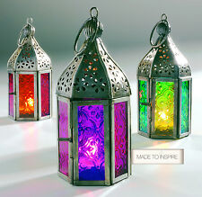 NEW INDIAN MOROCCAN MINI IRON TONAL GLASS LANTERN TEA LIGHT HOLDER HOME & GARDEN