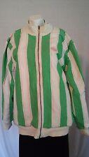 Adidas reversible pink green stripe jacket rabbit's bunny tennis logo sz L