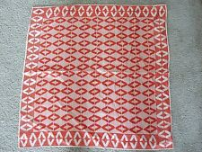 "Vintage 70S Vera Geometric Red&White Hand Rolled Hem 26"" By 26"" Scarf"