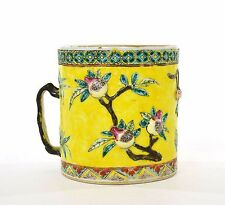 19C Chinese Export Famille Rose Jaune Relief Porcelain Cup Mug Stein Peach Tree