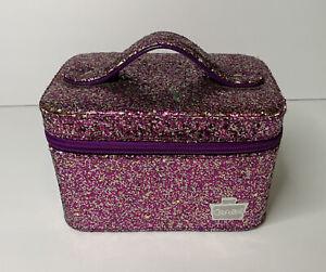 Caboodles Go Getter Glitter Purple Mini Vanity Valet Small Cosmetic Mirror Case