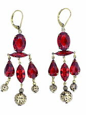 Stunning vintage retro style bronze and red crystal chandelier earrings
