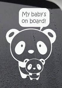 My Baby's On Board Panda Self Adhesive Vinyl Sticker Decal
