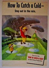 Original Kleenex 1951 Disney Ad Poster-How To Catch A Cold-WDP-Stay In Rain