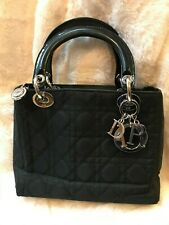Christian Dior Lady Dior Bag Black Quilted Cannage Nylon With Silver Hardware