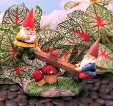 Miniature Fairy Garden Gnomes Playing on Mushroom Seesaw - Buy 3 Save $5