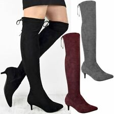 Womens Ladies Low Kitten Heel Thigh Knee High Boots Pointed Stretchy Shoes Size