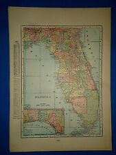 Vintage Circa 1904 Florida Map Old Antique Original & Authentic -Free S&H