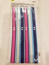 Under Armour Girls Youth Non Slip Headbands 6 Pack pink blue teal UA NWT