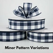 """1.5"""" wired ribbon buffalo check plaid dark navy blue white relaxed canvas 5 yds"""