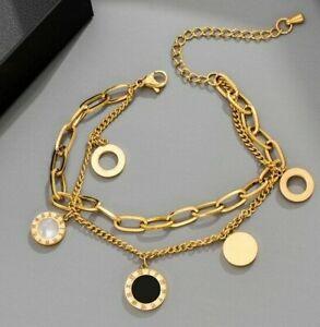 Gold Stainless Steel Roman Numerals Bracelet