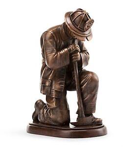 Praying Fireman  Statue Bronze Kneeling Firefighter Memorial Figurine