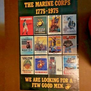 """Vintage Marine Corps Recruiting Poster 1775-1975     2 sided 37"""" x 24"""""""