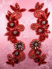 "Appliques Red Silver Mirror Pair Set Sequin Beaded Costume Motifs 10""  (0183)"