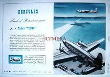1945 Vickers 'VIKING' Passenger Airplane Advert - Hercules Engines Art Print Ad
