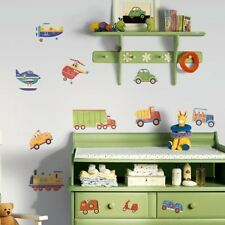 Kids Wall Stickers Decor Peel Stick Bedroom Playroom Shed Cars Trucks Helicopter