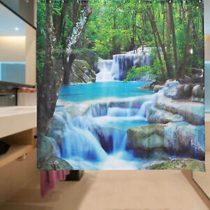 3D Waterfall Bathroom Shower Curtain Waterproof Polyester Fabric 12 Hooks