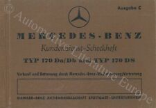 1953 MERCEDES BENZ 170 DA/DB & 170 DS SERVICEHEFT MAINTENANCE MANUAL DEUTSCH
