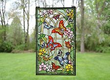 """20"""" x 34"""" Large Tiffany Style stained glass window panel Butterfly Garden Flower"""