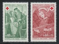 France 1970 MNH Sc B443-B444 Mi 1733-1734 Dissay Chapel frescoes.Red Cross