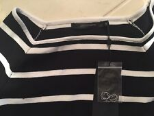 Portmans Black and White Striped Long Sleeve Top Size Small