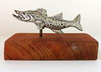"Salmon Figurine Fish Statue Metal & Wood Signed 6"" Base Sea Life"