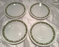 """4 Corelle Corning Ware Crazy Daisy Spring Blossom Saucers 6 1/8"""" Green Vintage"""