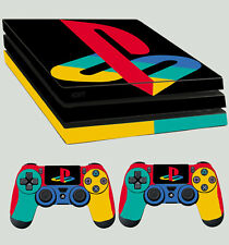 PS4 Pro Skin PLAYSTATION LOGO CLASSIC COLOURS Sticker + 2 X Controller Pad decal