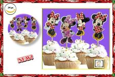 24pc MINNIE MOUSE Polka dot Cupcake Toppers Party Favors,Baby Shower,girls love