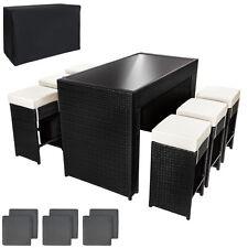 Polyrattan Aluminium Barset Tisch + 6 Barhocker Rattan Bar Theke Poolbar Lounge