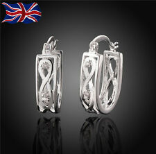 925 Sterling Silver Fancy Hoop Earrings Crystal Ladies Girls Gift Bag UK