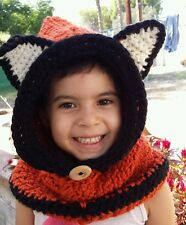Fox Hooded Cowl (handmade, crochet) orange and black - Child Size (approx. 6-10)
