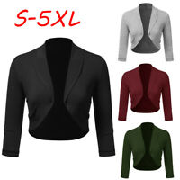 Women Plus Solid Bolero Shrug Open Front Cropped Mini Office Work Cardigan US