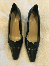 NAVY SMART LEATHER SHOES FROM MARKS AND SPENCER -SIZE UK 6 - IMMACULATE WITH BOW