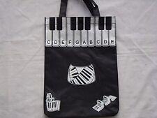 "Piano Keyboard Tote Bag 14"" x 10.5"" Nylon Black W/Piano Keys Brand NEW"