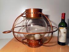 Lampe fanal lanterne cuivre marine ancienne bateau navire globe verre ancien