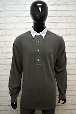 Maglia Polo Grigia Uomo RALPH LAUREN Taglia 2XL Camicia Manica Lunga Shirt Man