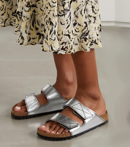 Birkenstock Proenza Schouler Leather Sandals EU 37 Women 6-6.5N Metallic Silver