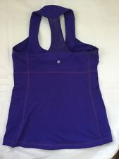Lululemon Size 10 Scoop Neck  Racerback Tank  Top Purple Mesh Yoga Gym Run EUC